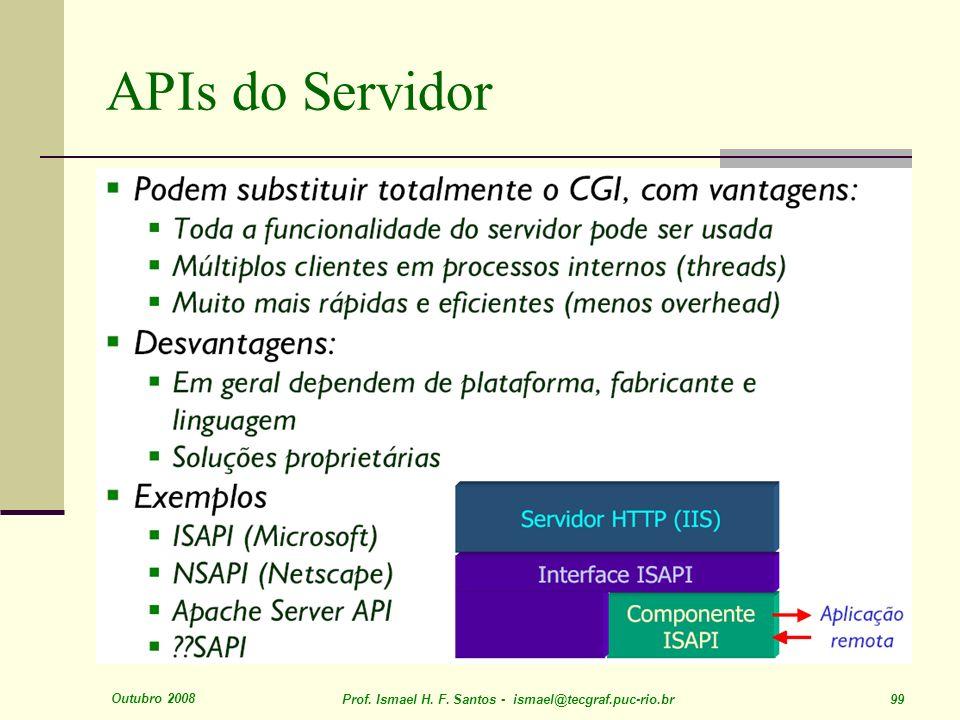 Outubro 2008 Prof. Ismael H. F. Santos - ismael@tecgraf.puc-rio.br 99 APIs do Servidor