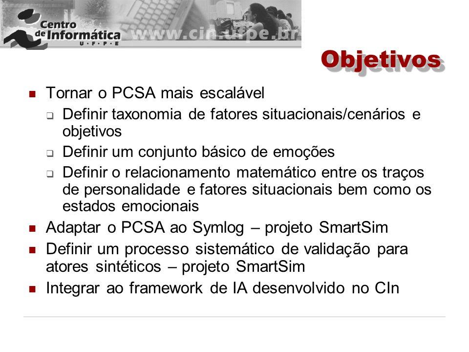 ObjetivosObjetivos Tornar o PCSA mais escalável Definir taxonomia de fatores situacionais/cenários e objetivos Definir um conjunto básico de emoções D