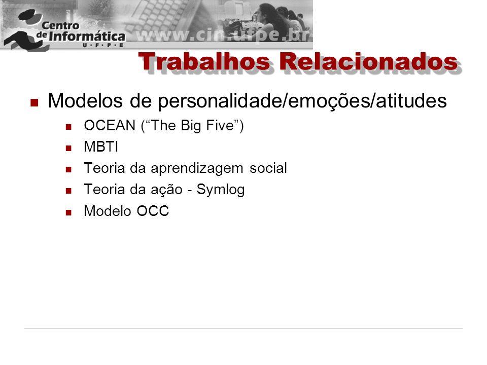 Trabalhos Relacionados Modelos de personalidade/emoções/atitudes OCEAN (The Big Five) MBTI Teoria da aprendizagem social Teoria da ação - Symlog Model