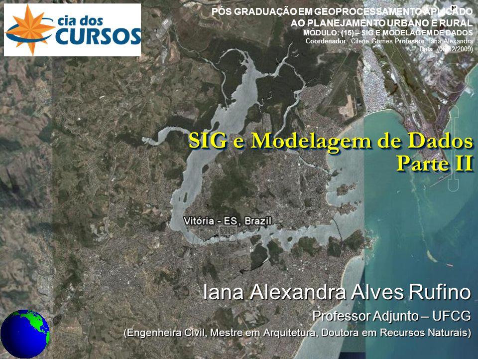 SIG e Modelagem de dados: Parte II SIG e Modelagem de Dados Parte II Iana Alexandra Alves Rufino Professor Adjunto – UFCG (Engenheira Civil, Mestre em Arquitetura, Doutora em Recursos Naturais) PÓS GRADUAÇÃO EM GEOPROCESSAMENTO APLICADO AO PLANEJAMENTO URBANO E RURAL MÓDULO: (15) – SIG E MODELAGEM DE DADOS Coordenador: Cilene Gomes Professor: Iana Alexandra Data: (06/02/2009)