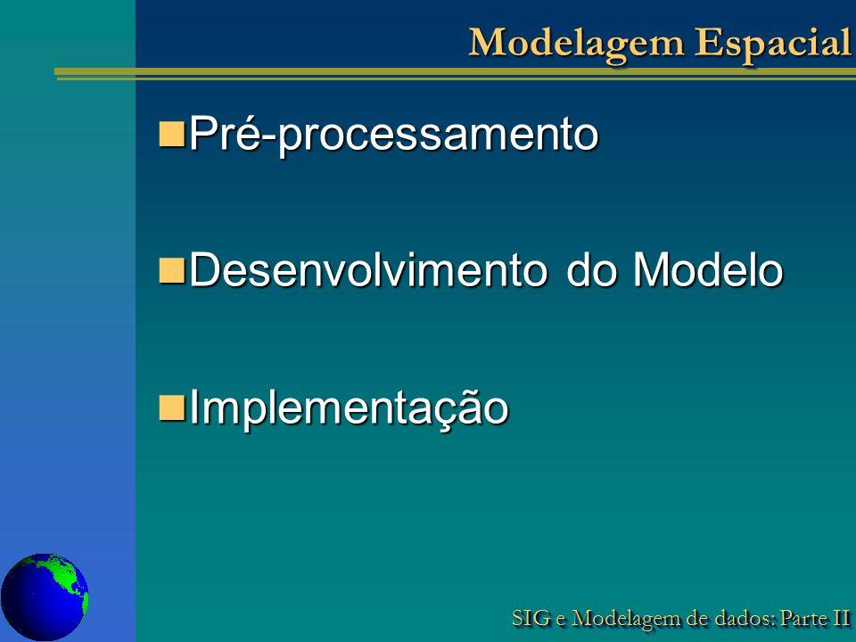 SIG e Modelagem de dados: Parte II Modelagem Espacial Pré-processamento Pré-processamento Desenvolvimento do Modelo Desenvolvimento do Modelo Implementação Implementação