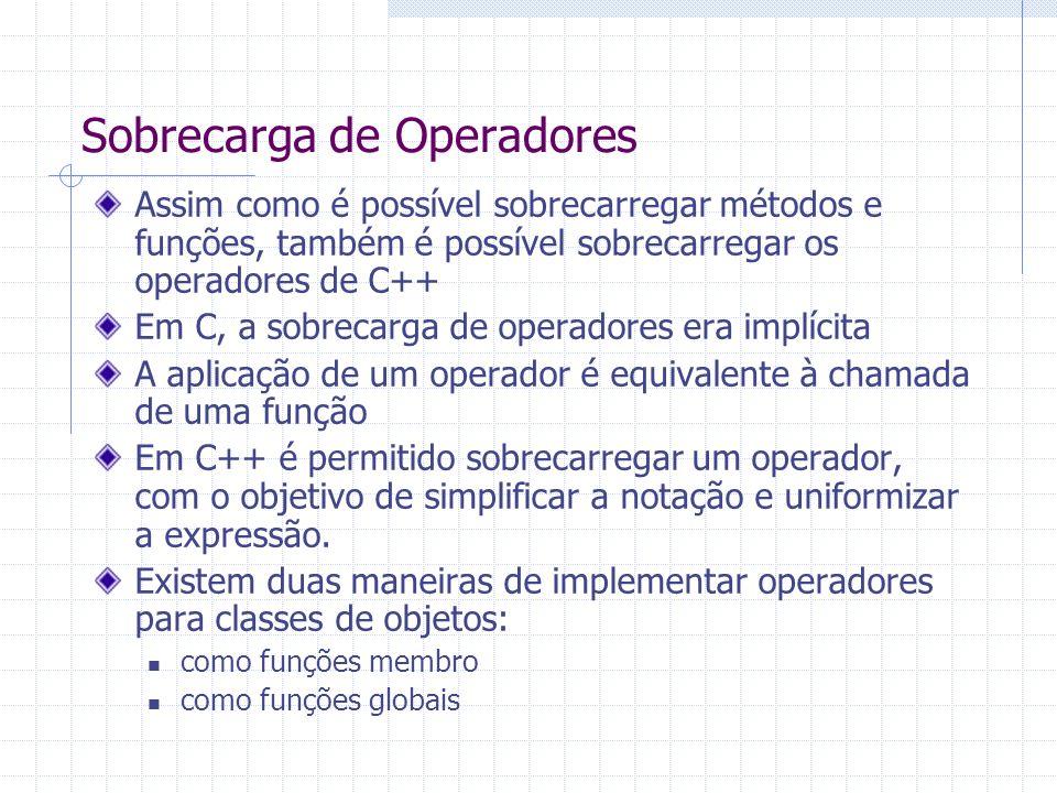 Sobrecarga de Operadores Assim como é possível sobrecarregar métodos e funções, também é possível sobrecarregar os operadores de C++ Em C, a sobrecarg