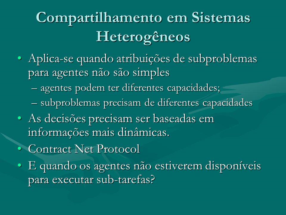 Compartilhamento em Sistemas Heterogêneos Aplica-se quando atribuições de subproblemas para agentes não são simplesAplica-se quando atribuições de sub