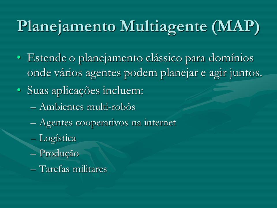 Planejamento Multiagente (MAP) Estende o planejamento clássico para domínios onde vários agentes podem planejar e agir juntos.Estende o planejamento c