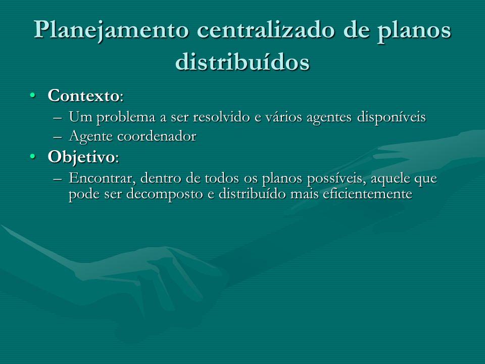 Planejamento centralizado de planos distribuídos Contexto:Contexto: –Um problema a ser resolvido e vários agentes disponíveis –Agente coordenador Obje