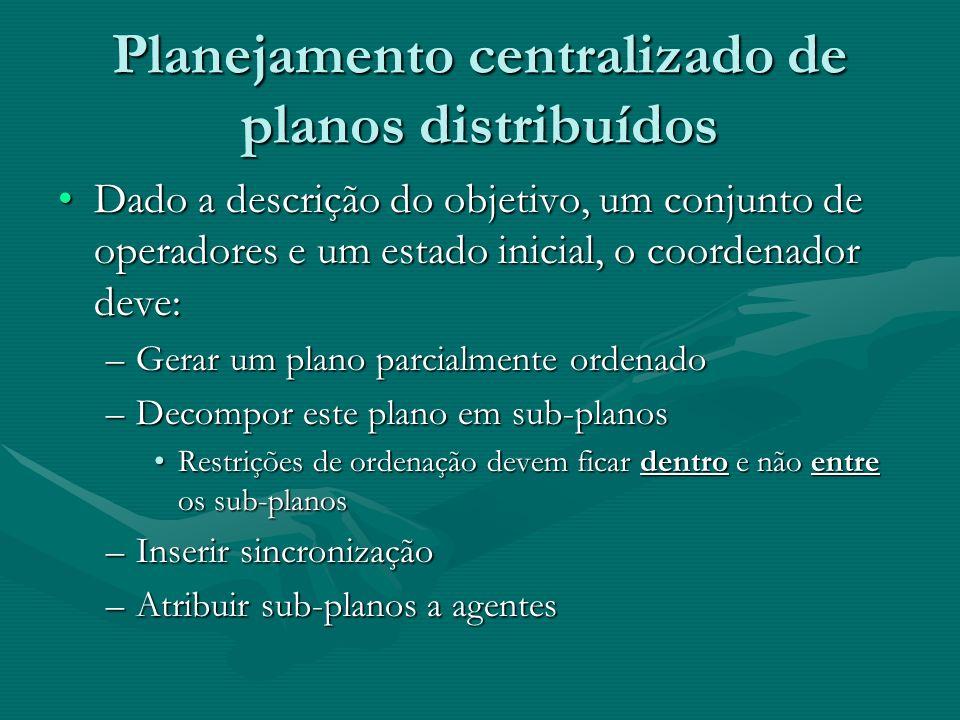 Planejamento centralizado de planos distribuídos Dado a descrição do objetivo, um conjunto de operadores e um estado inicial, o coordenador deve:Dado