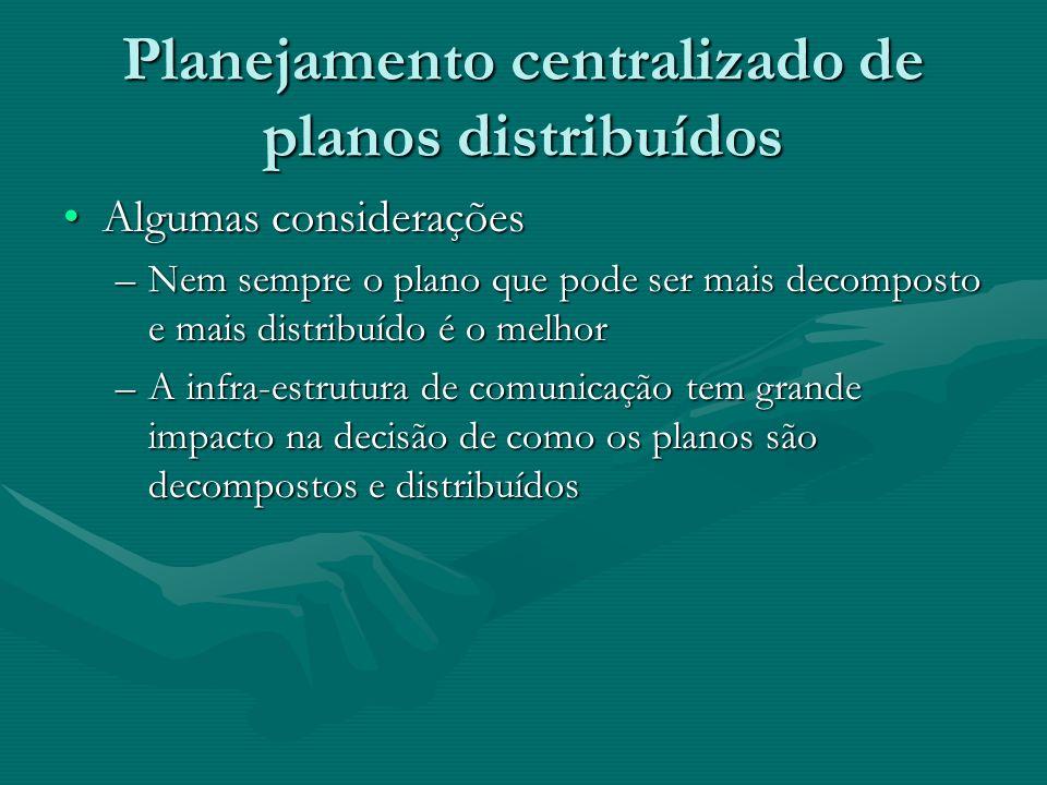 Planejamento centralizado de planos distribuídos Algumas consideraçõesAlgumas considerações –Nem sempre o plano que pode ser mais decomposto e mais di