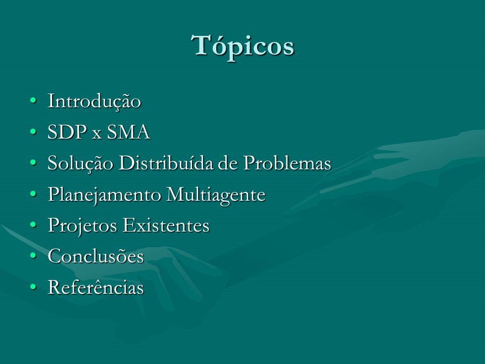 Tópicos IntroduçãoIntrodução SDP x SMASDP x SMA Solução Distribuída de ProblemasSolução Distribuída de Problemas Planejamento MultiagentePlanejamento