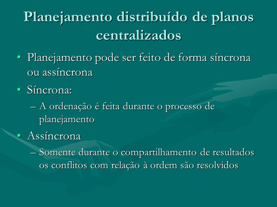 Planejamento distribuído de planos centralizados Planejamento pode ser feito de forma síncrona ou assíncronaPlanejamento pode ser feito de forma síncr