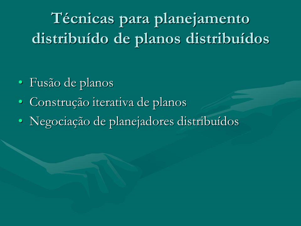 Técnicas para planejamento distribuído de planos distribuídos Fusão de planosFusão de planos Construção iterativa de planosConstrução iterativa de pla