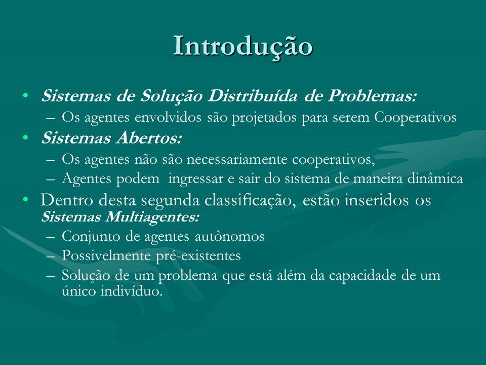 Introdução Sistemas de Solução Distribuída de Problemas: – –Os agentes envolvidos são projetados para serem Cooperativos Sistemas Abertos: – –Os agent