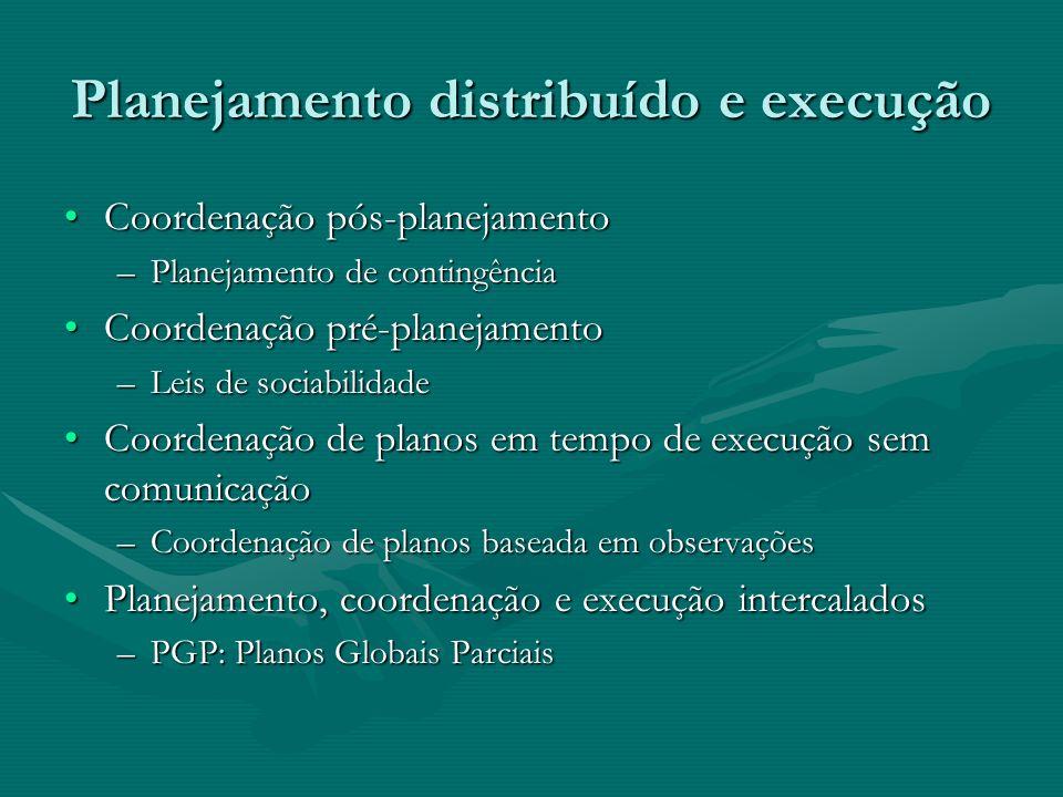 Planejamento distribuído e execução Coordenação pós-planejamentoCoordenação pós-planejamento –Planejamento de contingência Coordenação pré-planejament