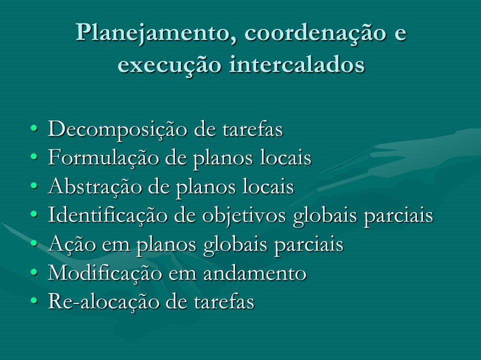 Planejamento, coordenação e execução intercalados Decomposição de tarefasDecomposição de tarefas Formulação de planos locaisFormulação de planos locai