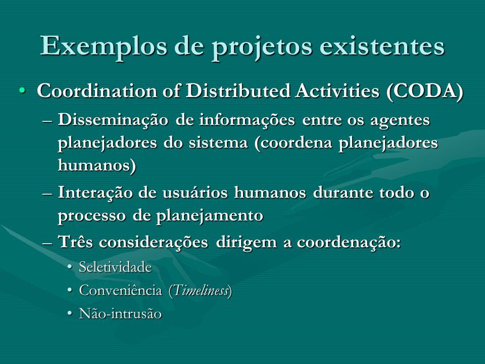 Exemplos de projetos existentes Coordination of Distributed Activities (CODA)Coordination of Distributed Activities (CODA) –Disseminação de informaçõe