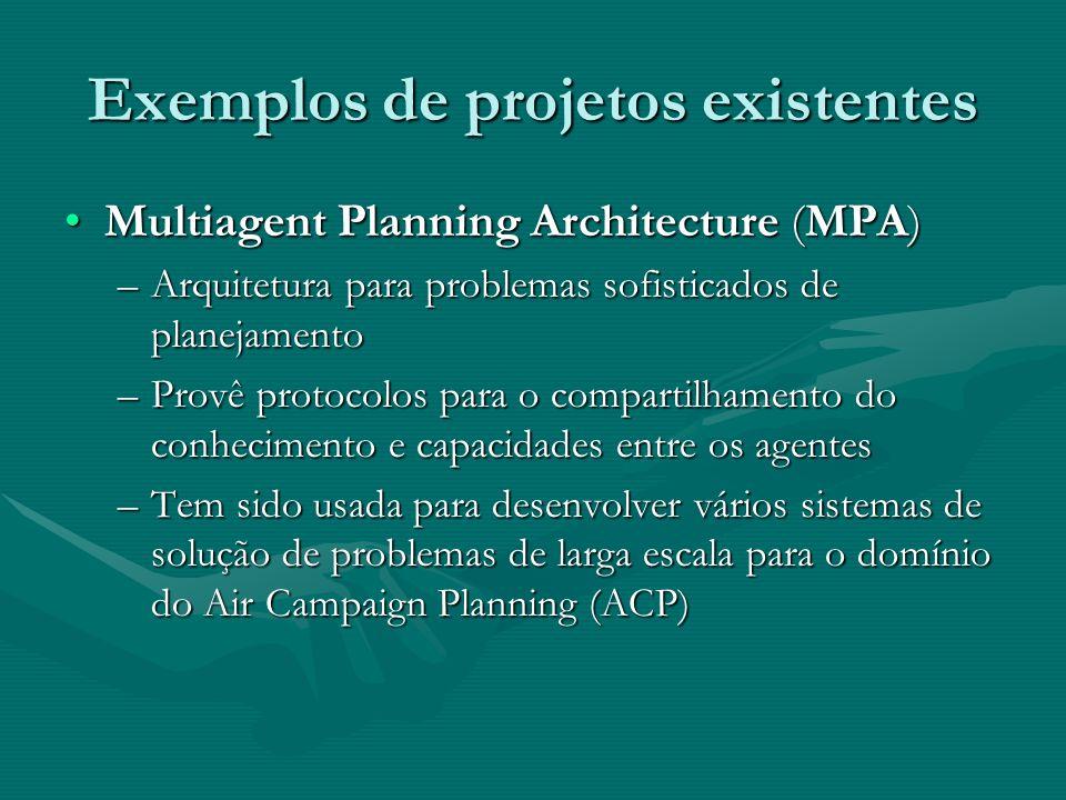 Exemplos de projetos existentes Multiagent Planning Architecture (MPA)Multiagent Planning Architecture (MPA) –Arquitetura para problemas sofisticados
