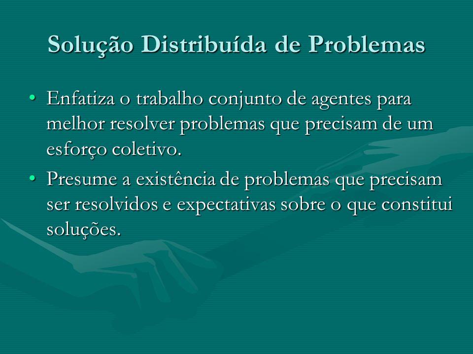 Solução Distribuída de Problemas Enfatiza o trabalho conjunto de agentes para melhor resolver problemas que precisam de um esforço coletivo.Enfatiza o