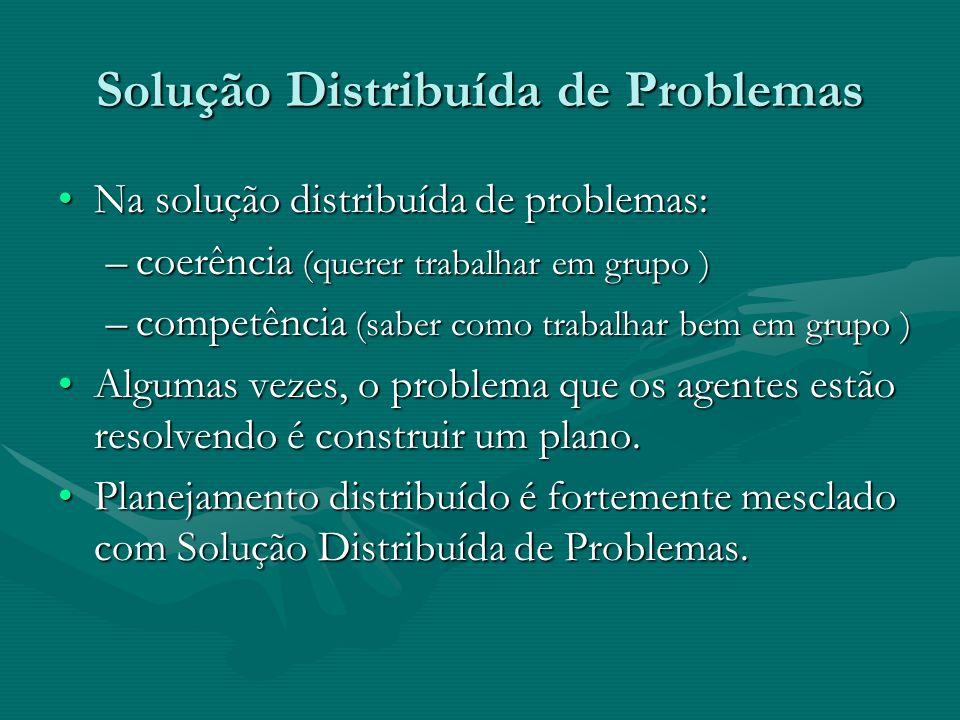 Solução Distribuída de Problemas Na solução distribuída de problemas:Na solução distribuída de problemas: –coerência (querer trabalhar em grupo ) –com