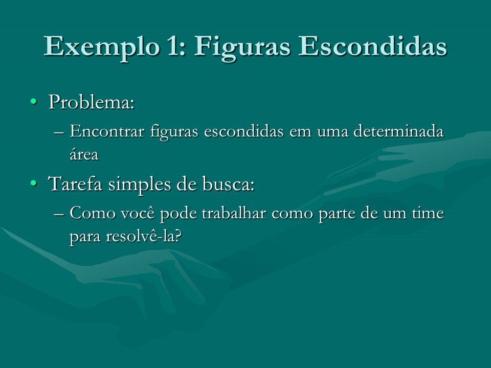 Exemplo 1: Figuras Escondidas Problema:Problema: –Encontrar figuras escondidas em uma determinada área Tarefa simples de busca:Tarefa simples de busca