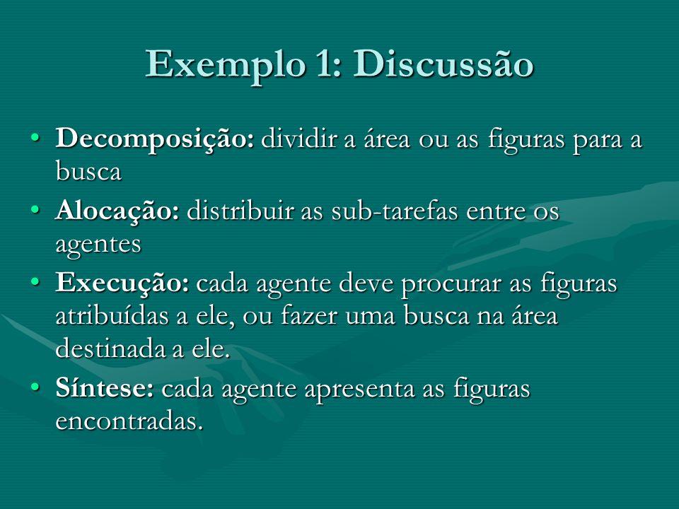 Exemplo 1: Discussão Decomposição: dividir a área ou as figuras para a buscaDecomposição: dividir a área ou as figuras para a busca Alocação: distribu