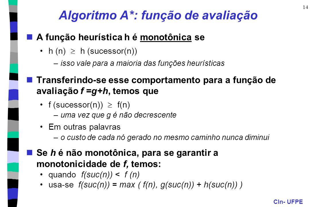 CIn- UFPE 14 Algoritmo A*: função de avaliação A função heurística h é monotônica se h (n) h (sucessor(n)) –isso vale para a maioria das funções heurí