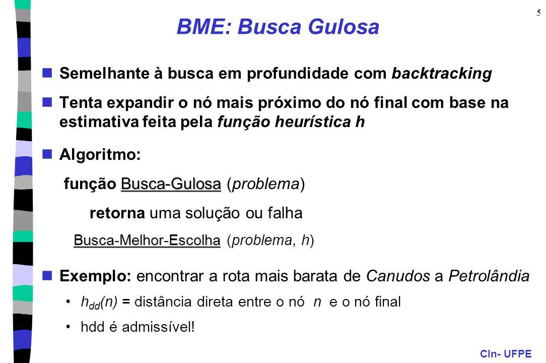 CIn- UFPE 5 BME: Busca Gulosa Semelhante à busca em profundidade com backtracking Tenta expandir o nó mais próximo do nó final com base na estimativa