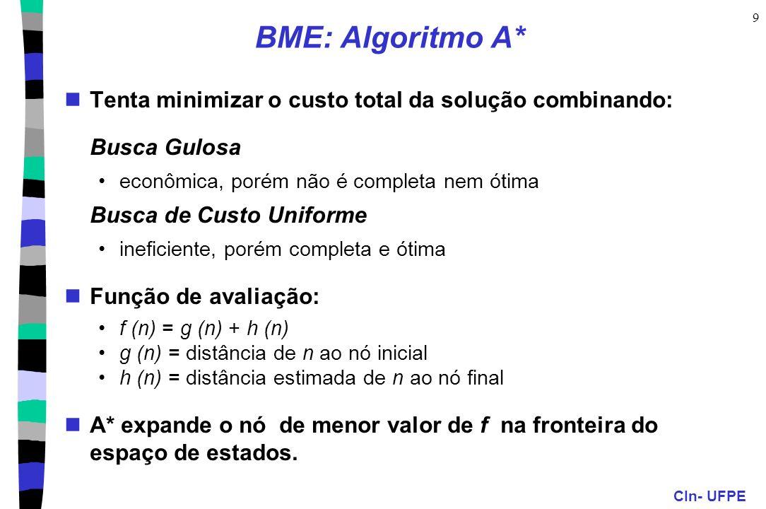 CIn- UFPE 9 BME: Algoritmo A* Tenta minimizar o custo total da solução combinando: Busca Gulosa econômica, porém não é completa nem ótima Busca de Cus