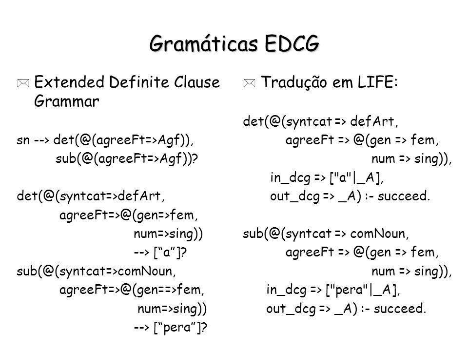 Gramáticas EDCG * Extended Definite Clause Grammar sn --> det(@(agreeFt=>Agf)), sub(@(agreeFt=>Agf))? det(@(syntcat=>defArt, agreeFt=>@(gen=>fem, num=