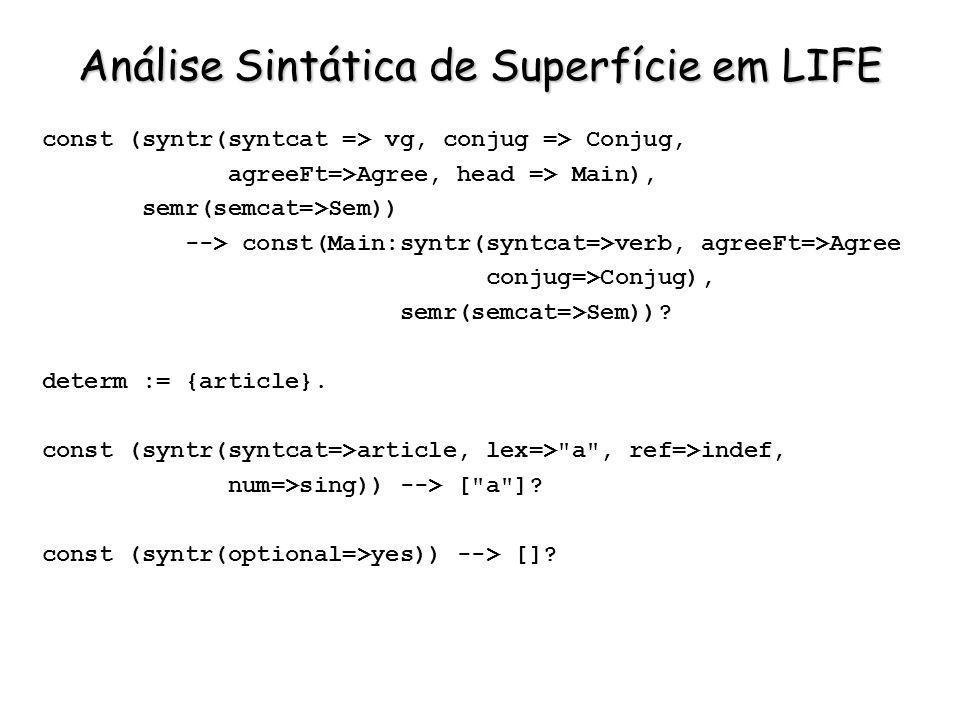 Análise Sintática de Superfície em LIFE const (syntr(syntcat => vg, conjug => Conjug, agreeFt=>Agree, head => Main), semr(semcat=>Sem)) --> const(Main