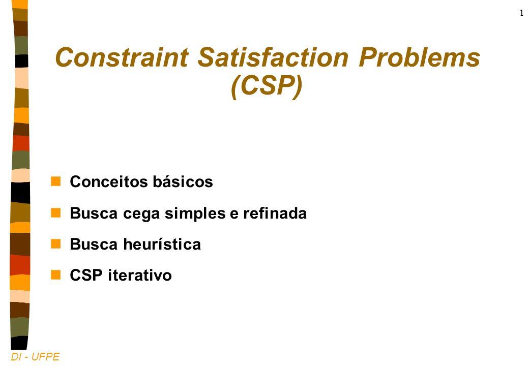 DI - UFPE 1 Constraint Satisfaction Problems (CSP) nConceitos básicos nBusca cega simples e refinada nBusca heurística nCSP iterativo