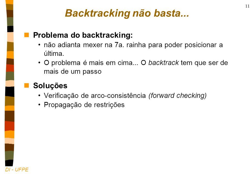 DI - UFPE 11 Backtracking não basta... nProblema do backtracking: não adianta mexer na 7a.