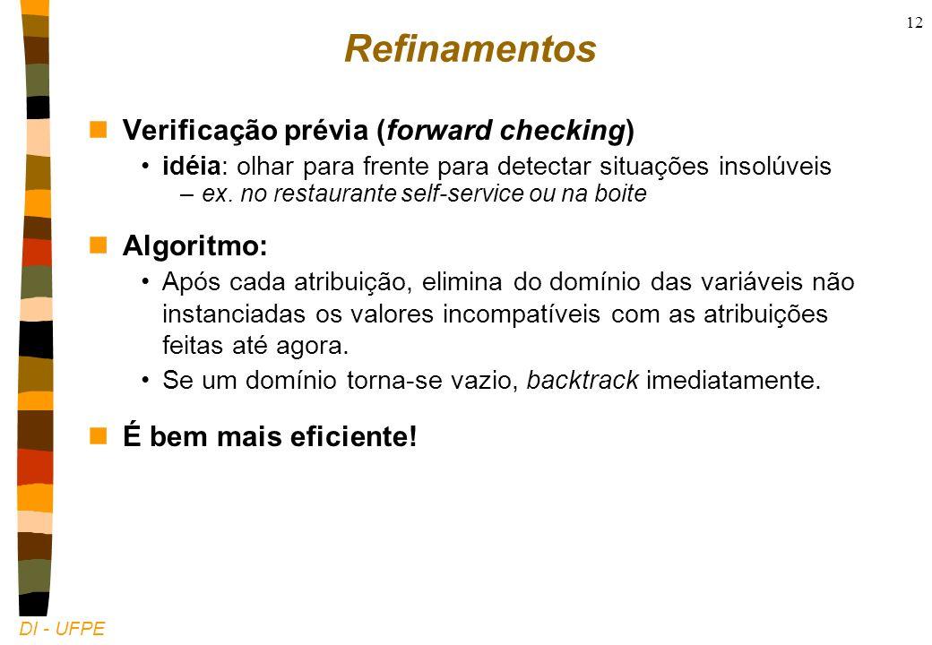 DI - UFPE 12 Refinamentos nVerificação prévia (forward checking) idéia: olhar para frente para detectar situações insolúveis –ex.