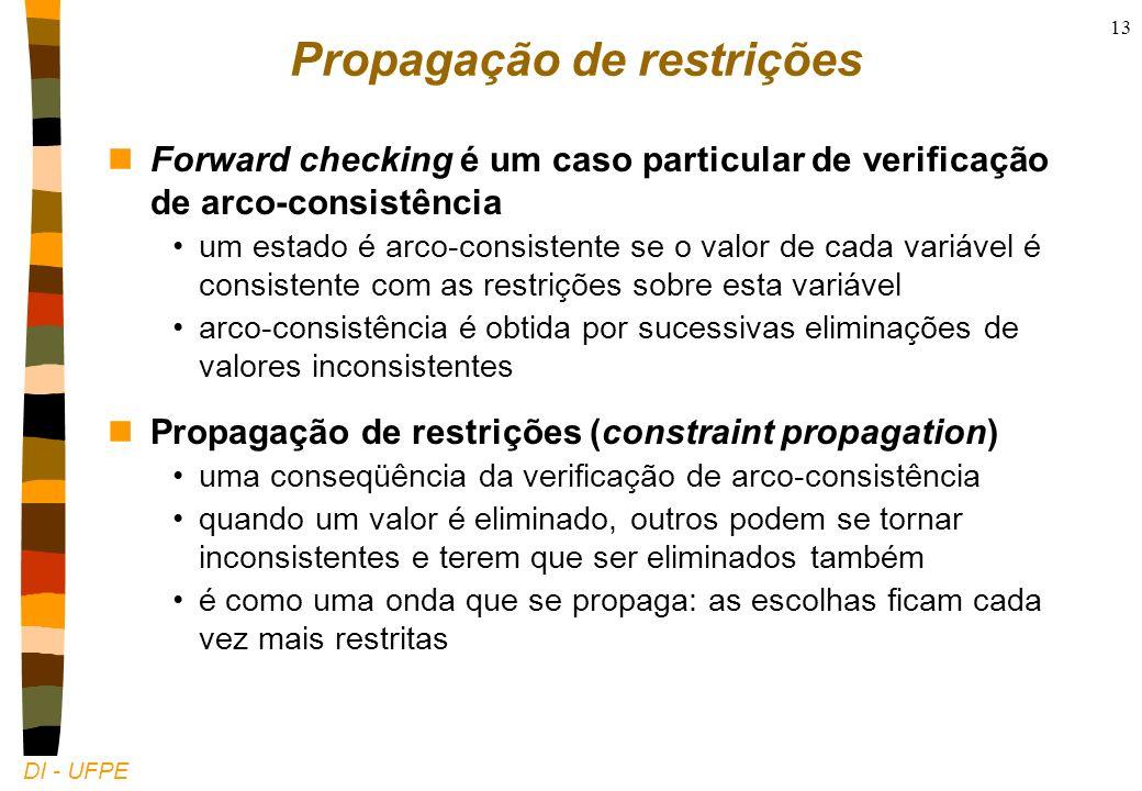 DI - UFPE 13 Propagação de restrições nForward checking é um caso particular de verificação de arco-consistência um estado é arco-consistente se o valor de cada variável é consistente com as restrições sobre esta variável arco-consistência é obtida por sucessivas eliminações de valores inconsistentes nPropagação de restrições (constraint propagation) uma conseqüência da verificação de arco-consistência quando um valor é eliminado, outros podem se tornar inconsistentes e terem que ser eliminados também é como uma onda que se propaga: as escolhas ficam cada vez mais restritas