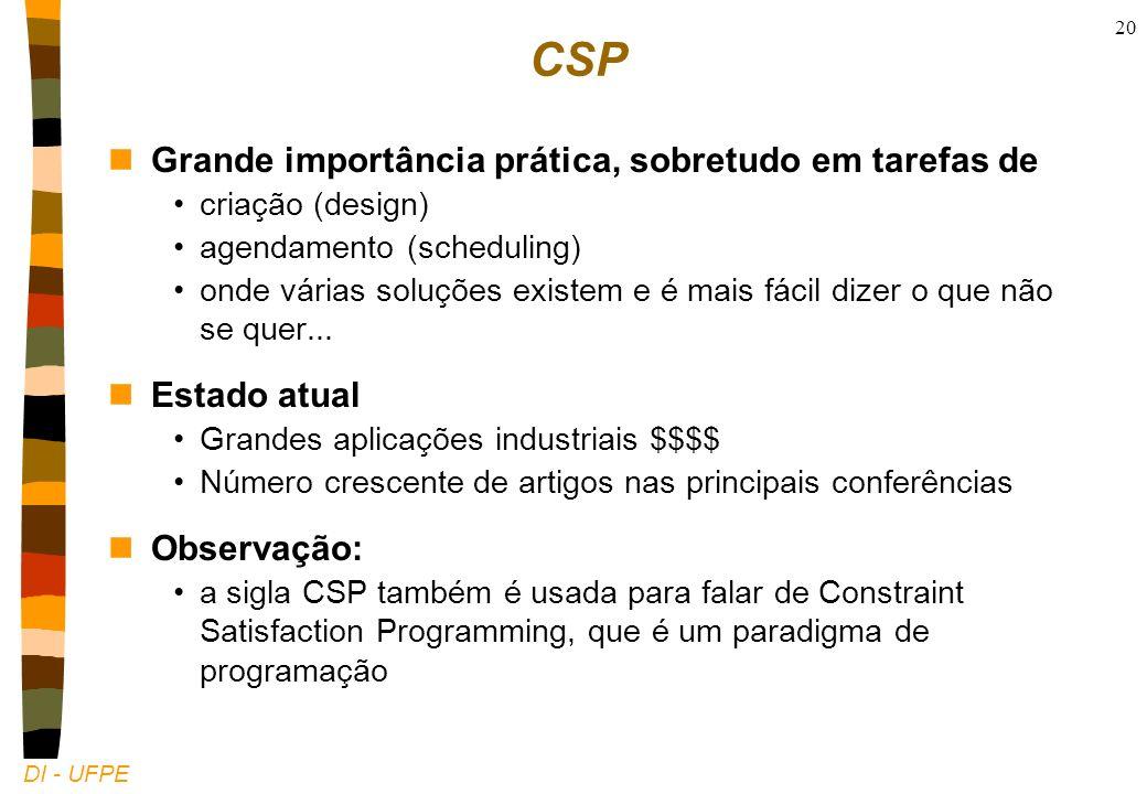 DI - UFPE 20 CSP nGrande importância prática, sobretudo em tarefas de criação (design) agendamento (scheduling) onde várias soluções existem e é mais fácil dizer o que não se quer...