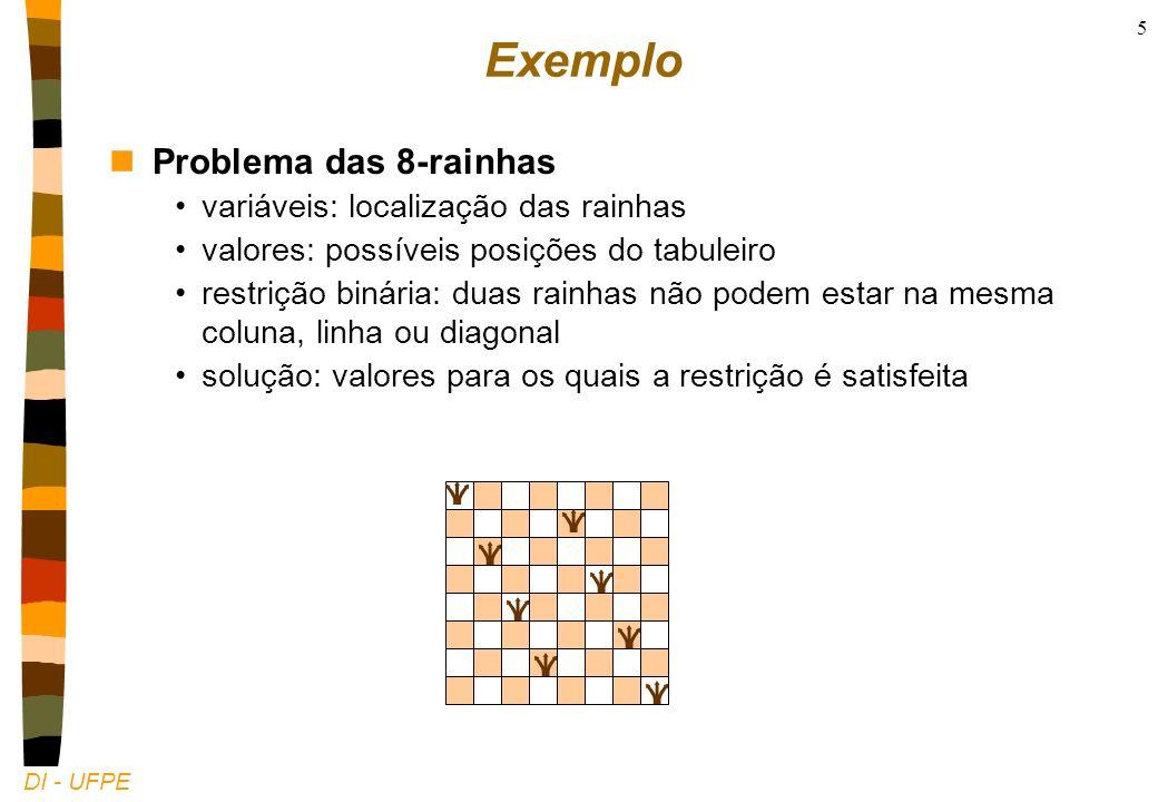 DI - UFPE 5 Exemplo nProblema das 8-rainhas variáveis: localização das rainhas valores: possíveis posições do tabuleiro restrição binária: duas rainhas não podem estar na mesma coluna, linha ou diagonal solução: valores para os quais a restrição é satisfeita