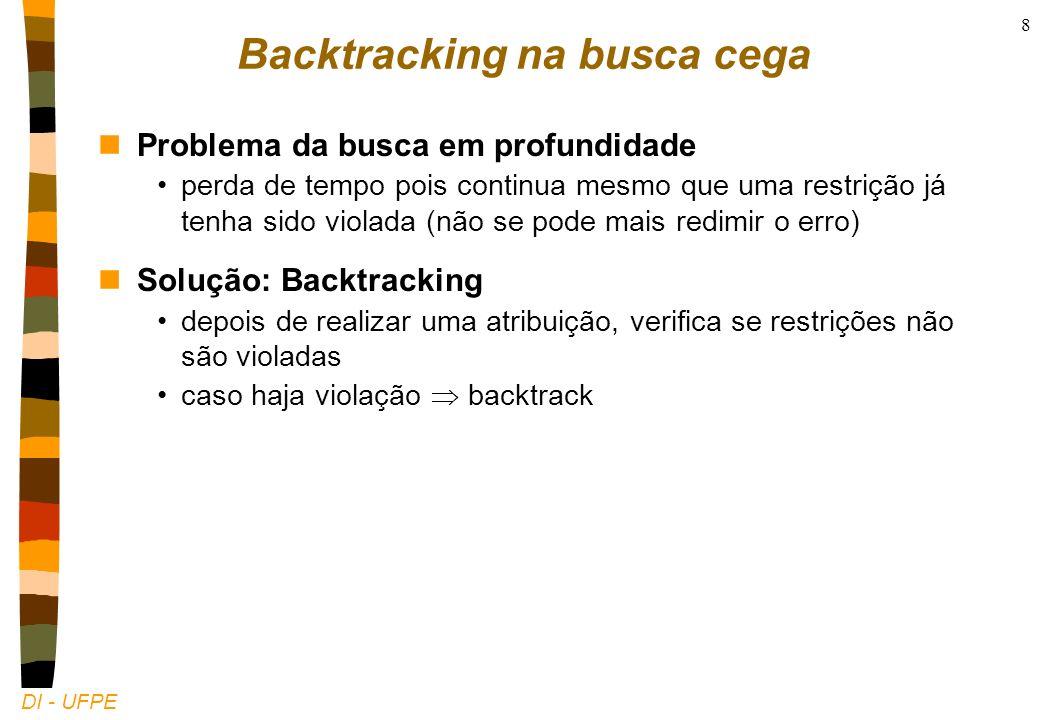 DI - UFPE 8 Backtracking na busca cega nProblema da busca em profundidade perda de tempo pois continua mesmo que uma restrição já tenha sido violada (não se pode mais redimir o erro) nSolução: Backtracking depois de realizar uma atribuição, verifica se restrições não são violadas caso haja violação backtrack