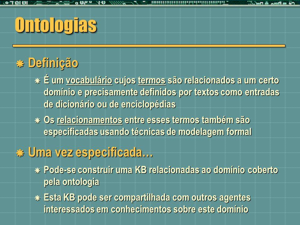 OntologiasOntologias Definição Definição É um vocabulário cujos termos são relacionados a um certo domínio e precisamente definidos por textos como en