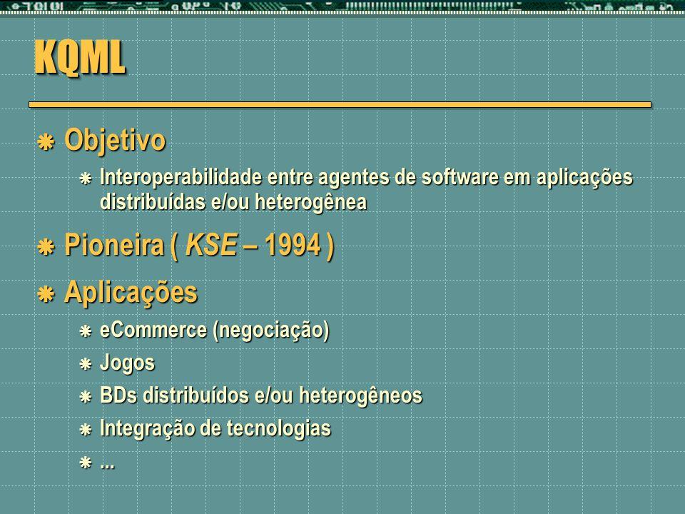 KQMLKQML Objetivo Objetivo Interoperabilidade entre agentes de software em aplicações distribuídas e/ou heterogênea Interoperabilidade entre agentes d