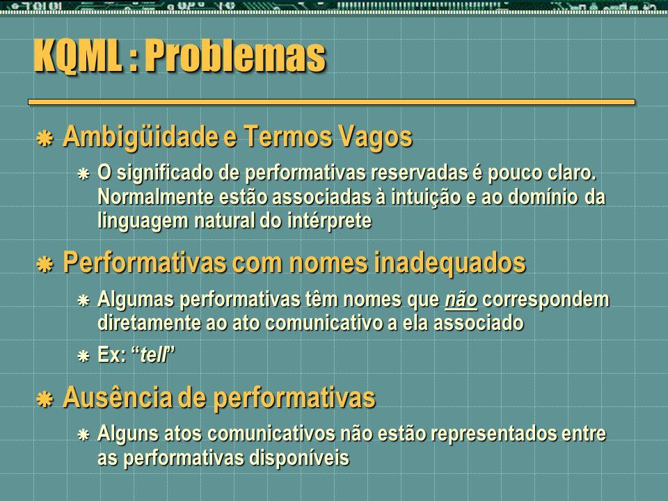 KQML : Problemas Ambigüidade e Termos Vagos Ambigüidade e Termos Vagos O significado de performativas reservadas é pouco claro. Normalmente estão asso