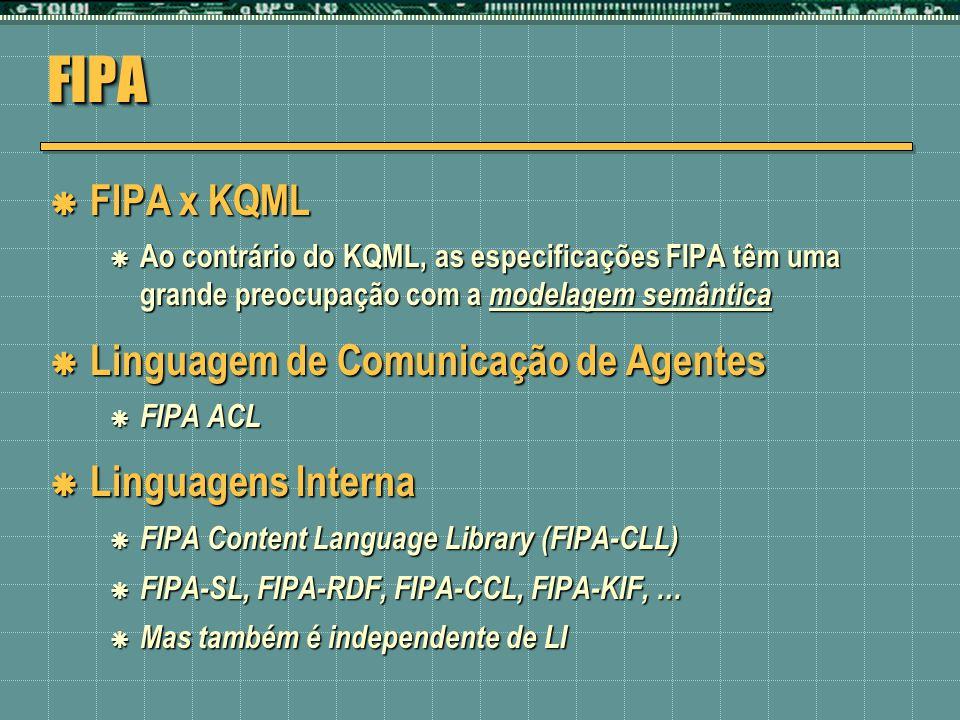 FIPAFIPA FIPA x KQML FIPA x KQML Ao contrário do KQML, as especificações FIPA têm uma grande preocupação com a modelagem semântica Ao contrário do KQM
