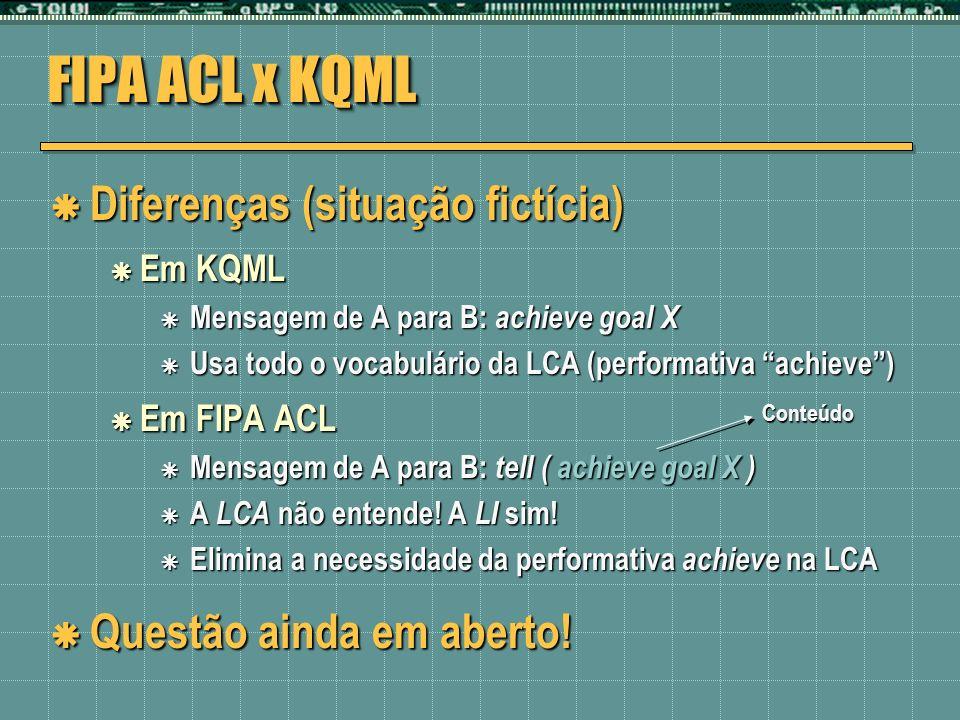 FIPA ACL x KQML Diferenças (situação fictícia) Diferenças (situação fictícia) Em KQML Em KQML Mensagem de A para B: achieve goal X Mensagem de A para