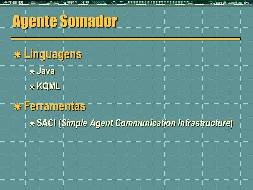 Agente Somador Linguagens Linguagens Java Java KQML KQML Ferramentas Ferramentas SACI ( Simple Agent Communication Infrastructure ) SACI ( Simple Agen