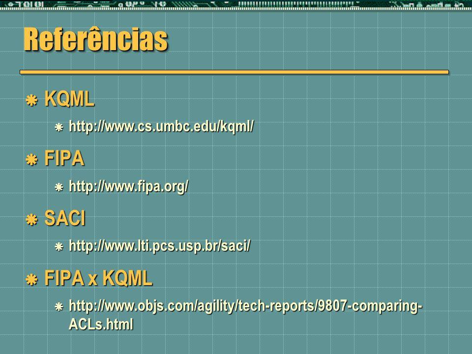 ReferênciasReferências KQML KQML http://www.cs.umbc.edu/kqml/ http://www.cs.umbc.edu/kqml/ FIPA FIPA http://www.fipa.org/ http://www.fipa.org/ SACI SA