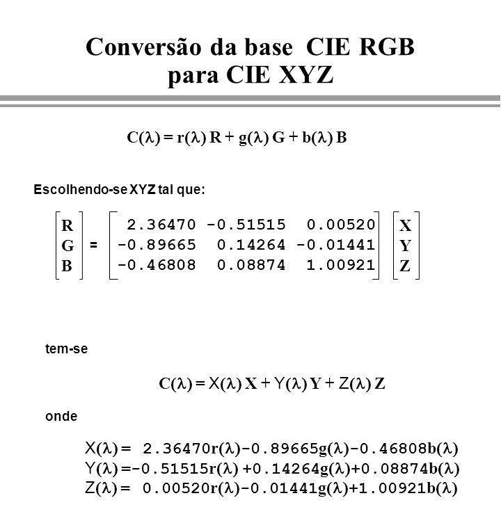 2.36470 -0.51515 0.00520 -0.89665 0.14264 -0.01441 -0.46808 0.08874 1.00921 RGBRGB XYZXYZ = C = r R + g G + b B C = X X + Y Y + Z Z X = 2.36470 r -0.8