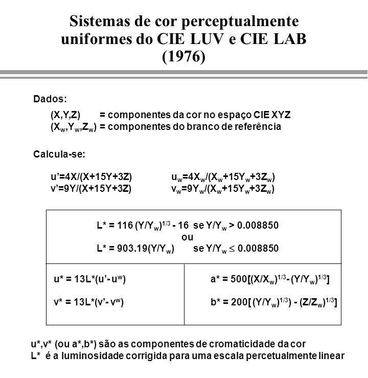 (X,Y,Z) = componentes da cor no espaço CIE XYZ (X w,Y w,Z w )= componentes do branco de referência Dados: u* = 13L*(u- u w ) v* = 13L*(v- v w ) u=4X/(