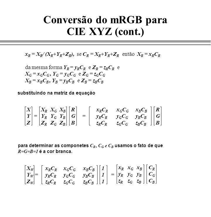 Conversão do mRGB para CIE XYZ (cont.) substituindo na matriz da equação XYZXYZ xRCRyRCRzRCRxRCRyRCRzRCR RGBRGB = x R = X R / (X R +Y R +Z R ), se C R