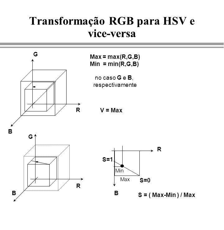 Transformação RGB para HSV e vice-versa S = ( Max-Min ) / Max R G B Max = max(R,G,B) Min = min(R,G,B) no caso G e B, respectivamente R G BB R V = Max