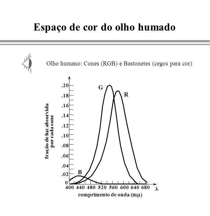 Espaço de cor do olho humado Olho humano: Cones (RGB) e Bastonetes (cegos para cor).02 0.04.06.08.10.12.14.16.18.20 400440480520560600640680 fração de