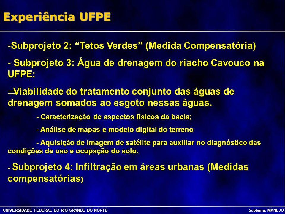 UNIVERSIDADE FEDERAL DO RIO GRANDE DO NORTE Subtema: MANEJO Experiência UFPE -Subprojeto 2: Tetos Verdes (Medida Compensatória) - Subprojeto 3: Água d