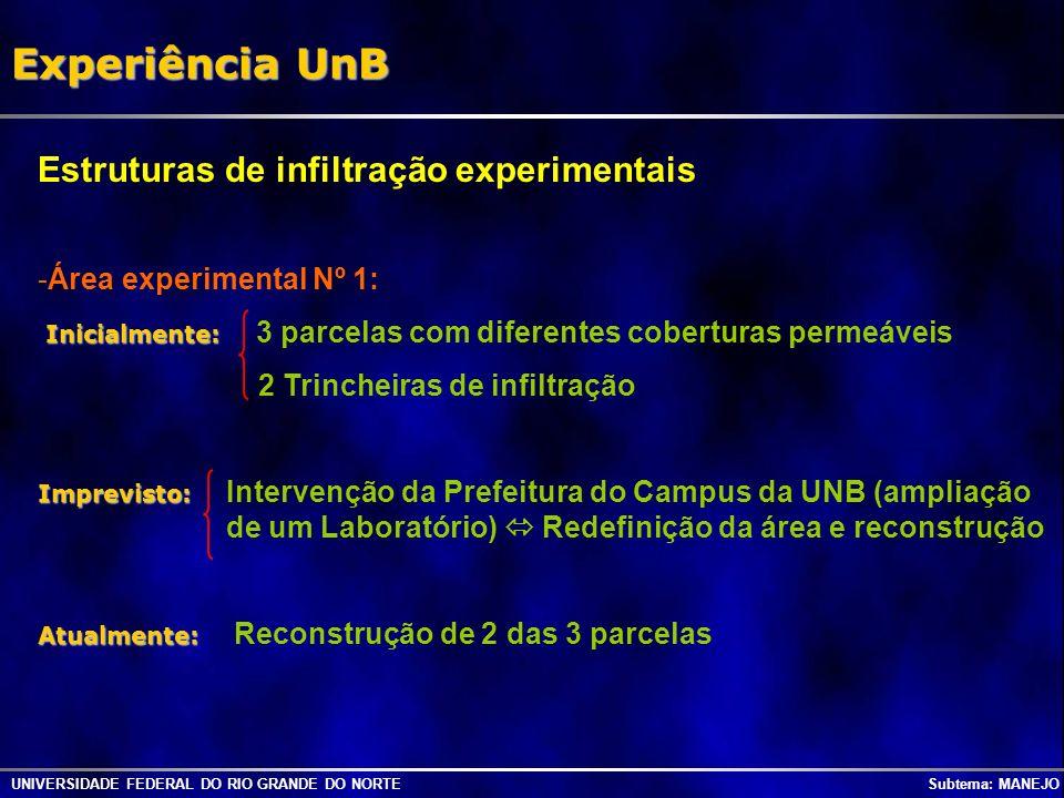 UNIVERSIDADE FEDERAL DO RIO GRANDE DO NORTE Subtema: MANEJO Experiência UnB Estruturas de infiltração experimentais -Área experimental Nº 1: Inicialme