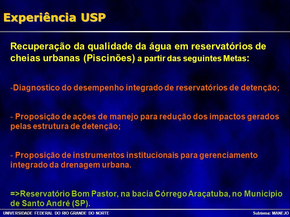 UNIVERSIDADE FEDERAL DO RIO GRANDE DO NORTE Subtema: MANEJO Experiência USP Recuperação da qualidade da água em reservatórios de cheias urbanas (Pisci